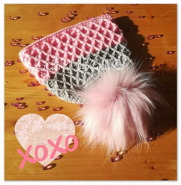 Caciula crosetata Pink Bon-bons Waffle - LL299