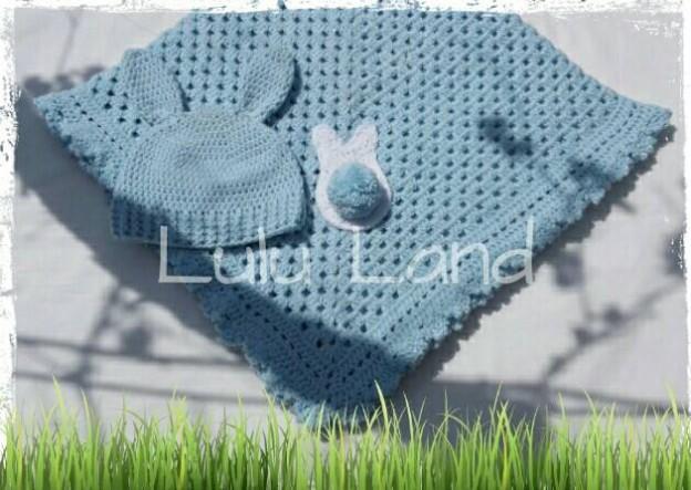 Set botez/nou-nascut/bebe Blue Baby Bunny - LL305